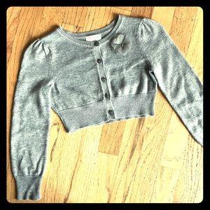 Girls Grey & Silver Cropped Cardigan